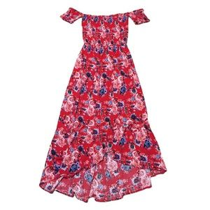 Hot Kiss Red Floral off the shoulder dress small